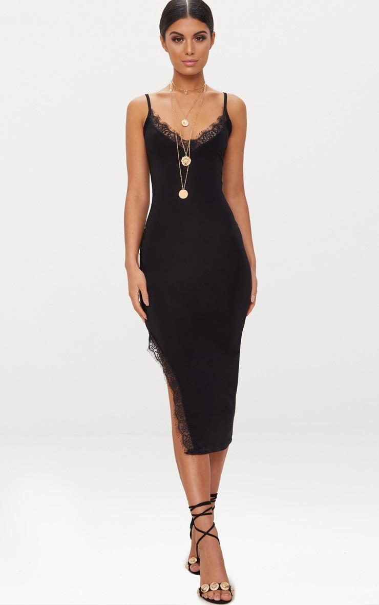 Black Strappy Lace Trim Plunge Split Midi Dress 4