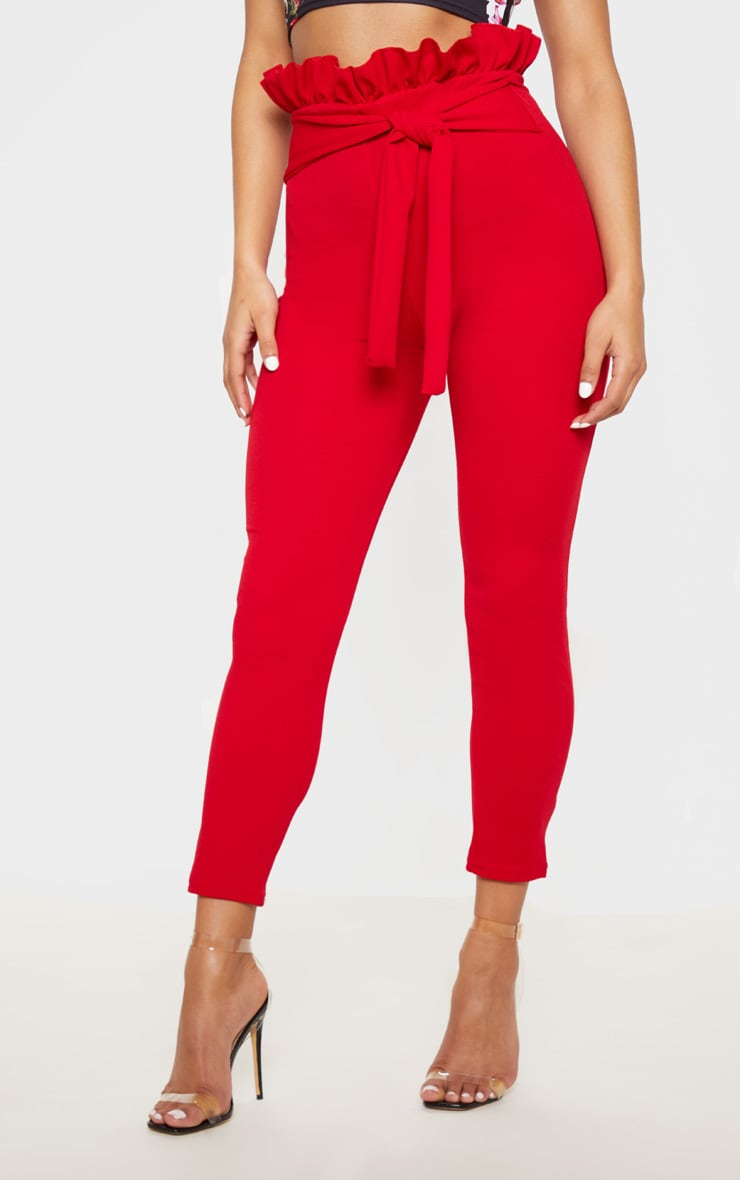 Perlita Red Paperbag Skinny Pants 2