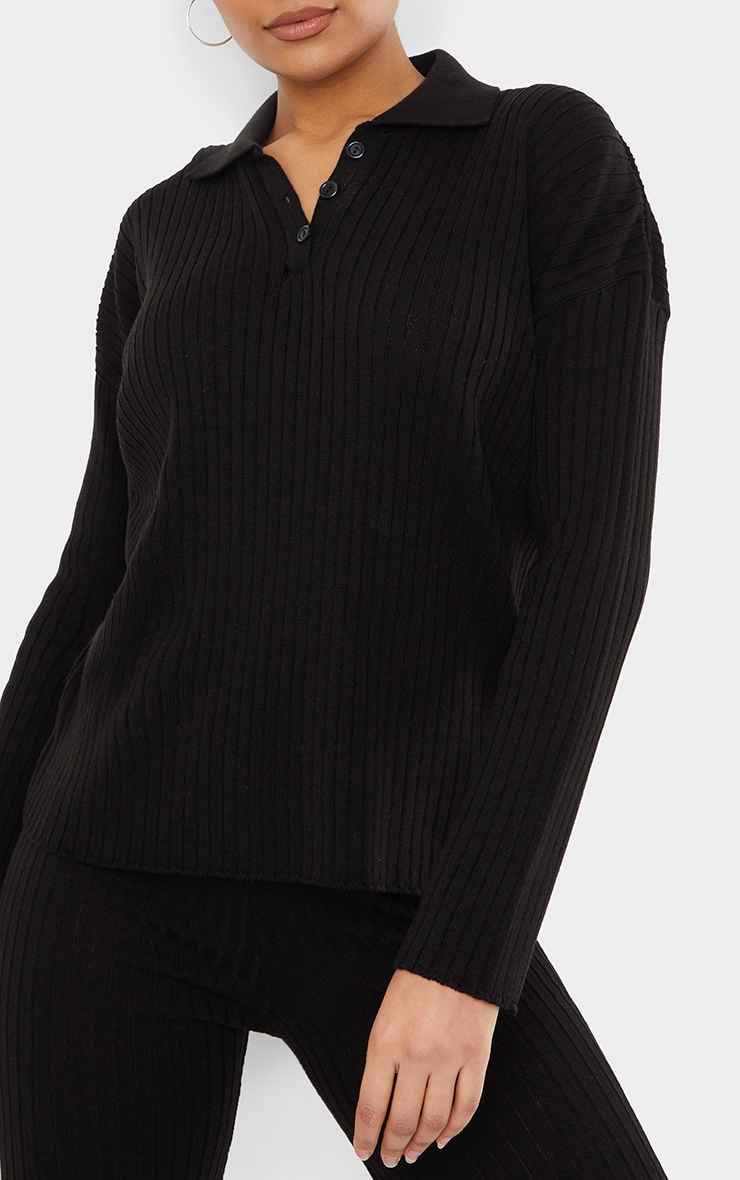 Black Ribbed Knitted Button Up Oversized Jumper 4