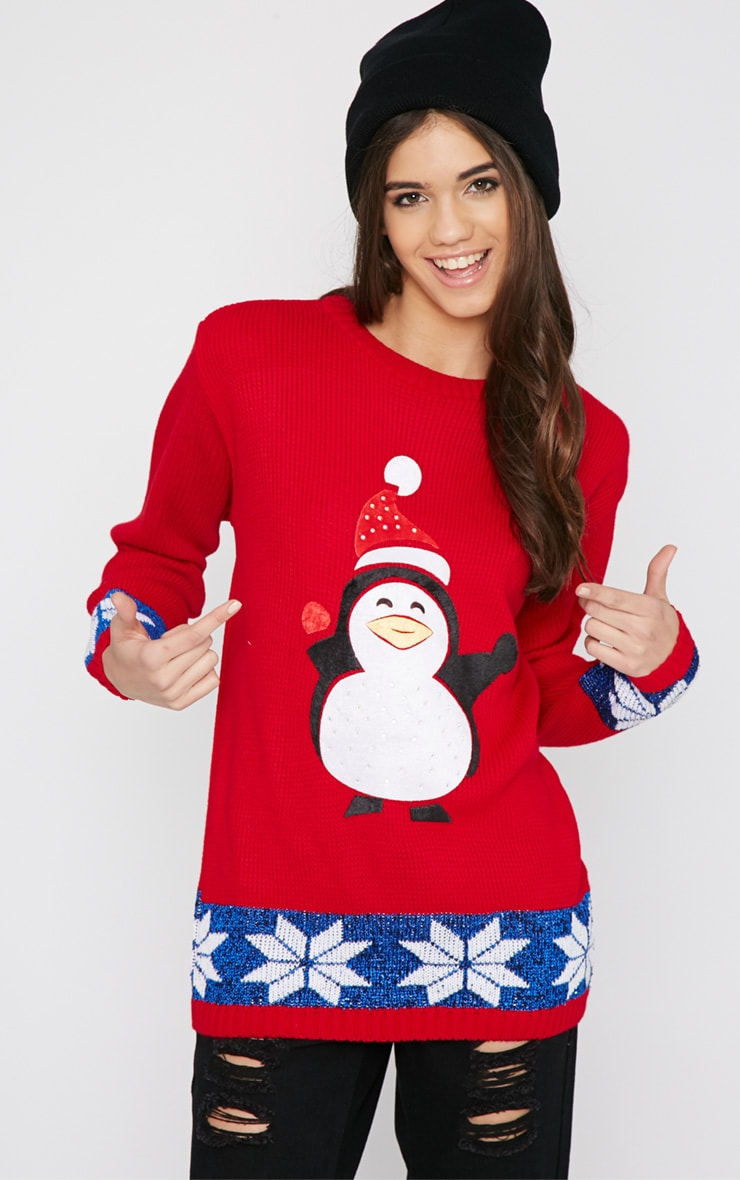 Gabriel Red Penguin Christmas Jumper 1