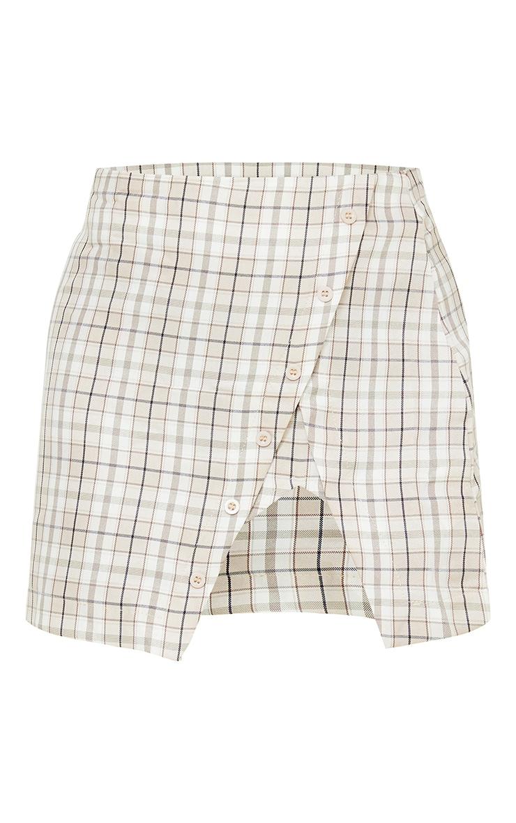 Petite Stone Checked Split Button Side Mini Skirt 6