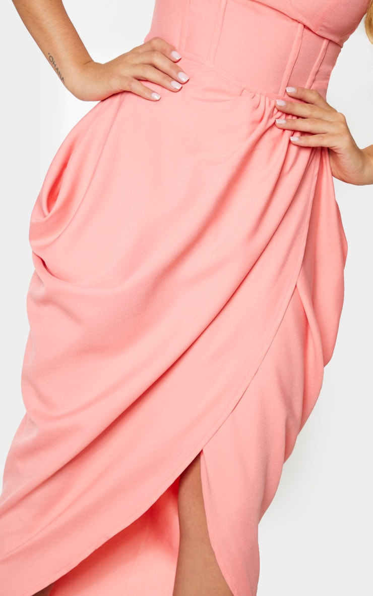 Peach Woven Ruched Side Midi Skirt 4