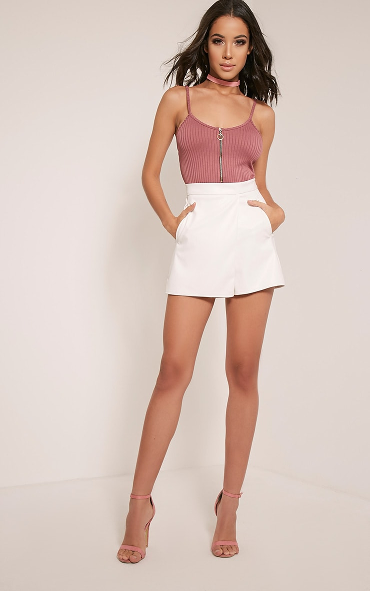 Chlo White Faux Leather Skort 6