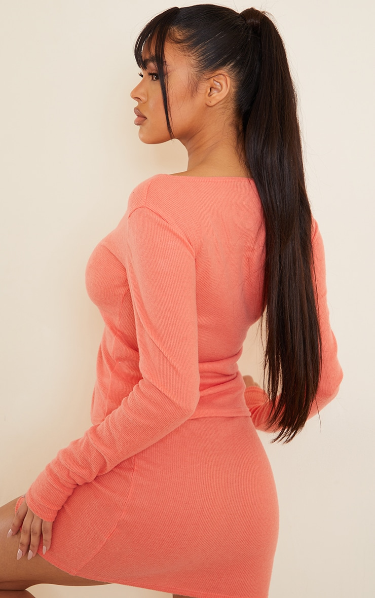 Dark Peach Soft Brushed Rib Double Zip Front Top 2