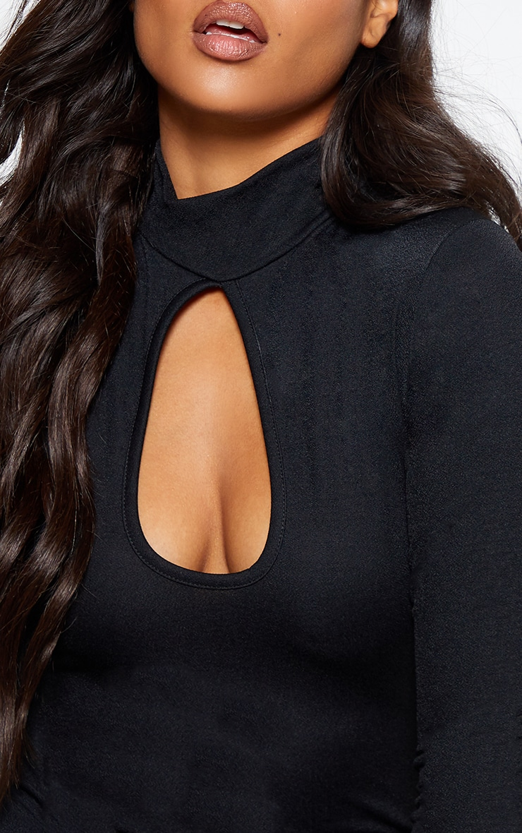 Black Keyhole Crepe Long Sleeve Bodysuit 6