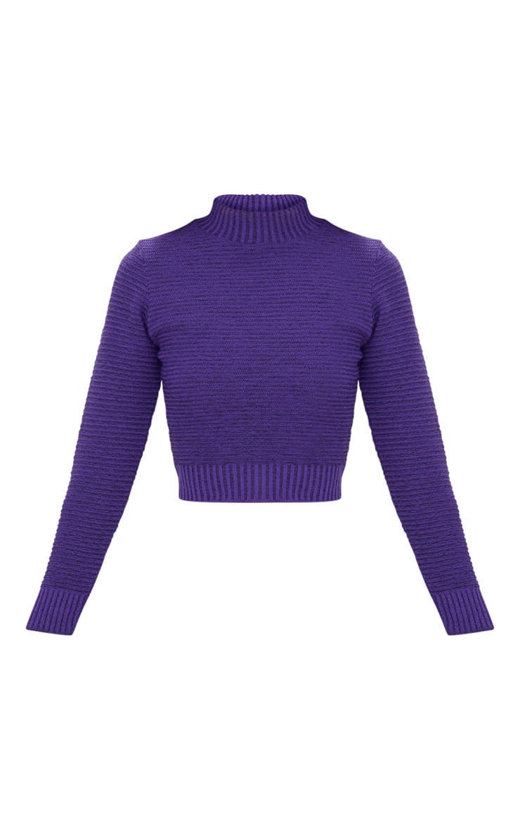 Purple Ribbed Cropped Knitted Jumper 3