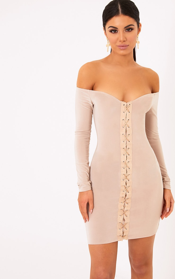 Margot Nude Lace Up Bardot Bodycon Dress 1
