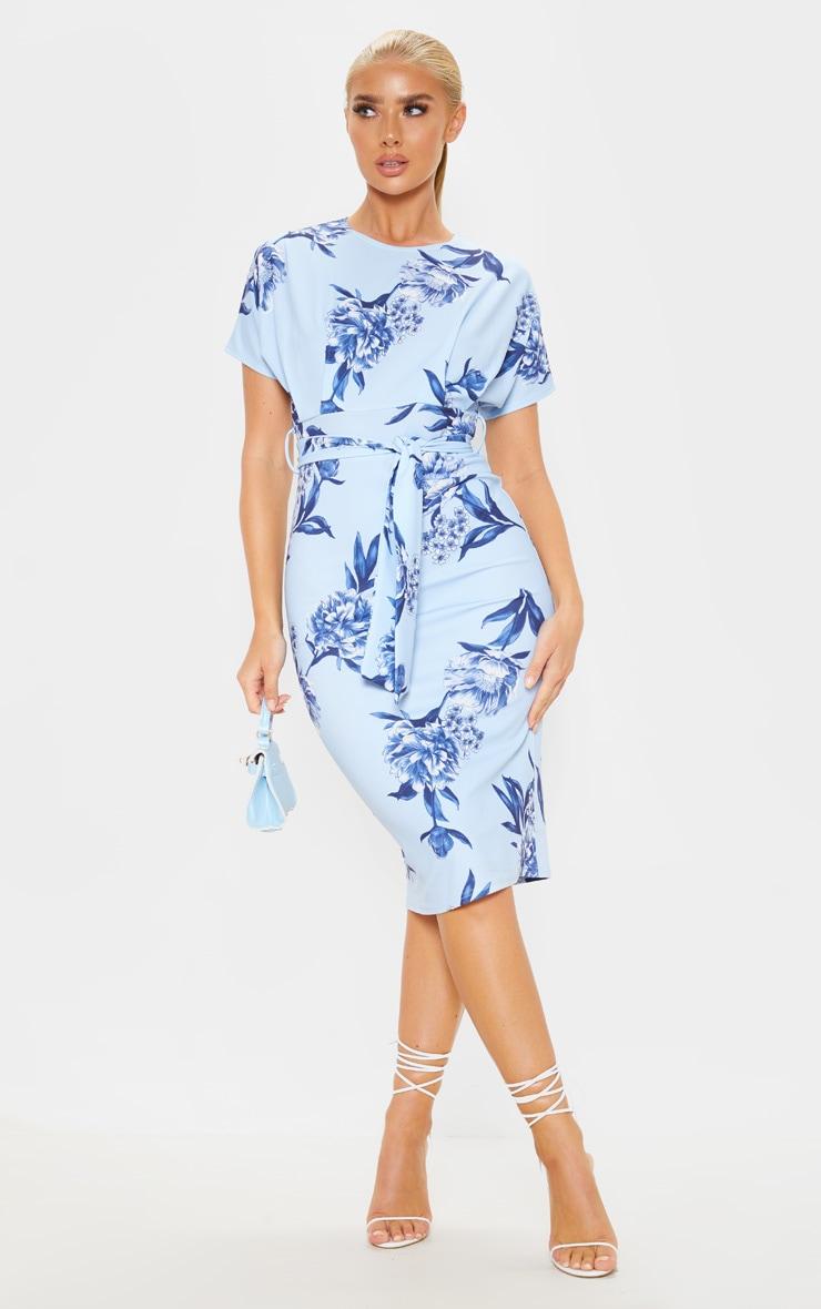 Blue Floral Print Short Sleeve Tie Waist Midi Dress 1