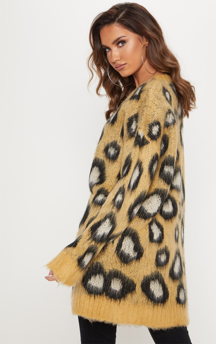 Camel Fluffy Leopard Oversized Sweater  2