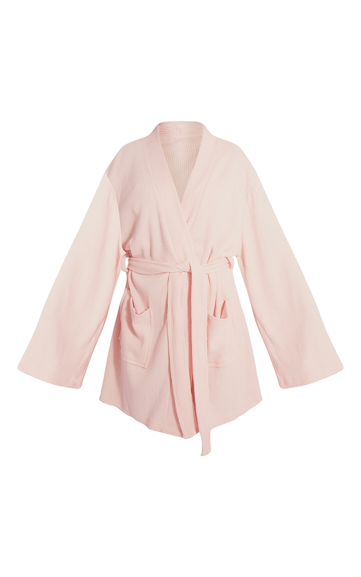 Pink Soft Waffle Dressing Gown 5