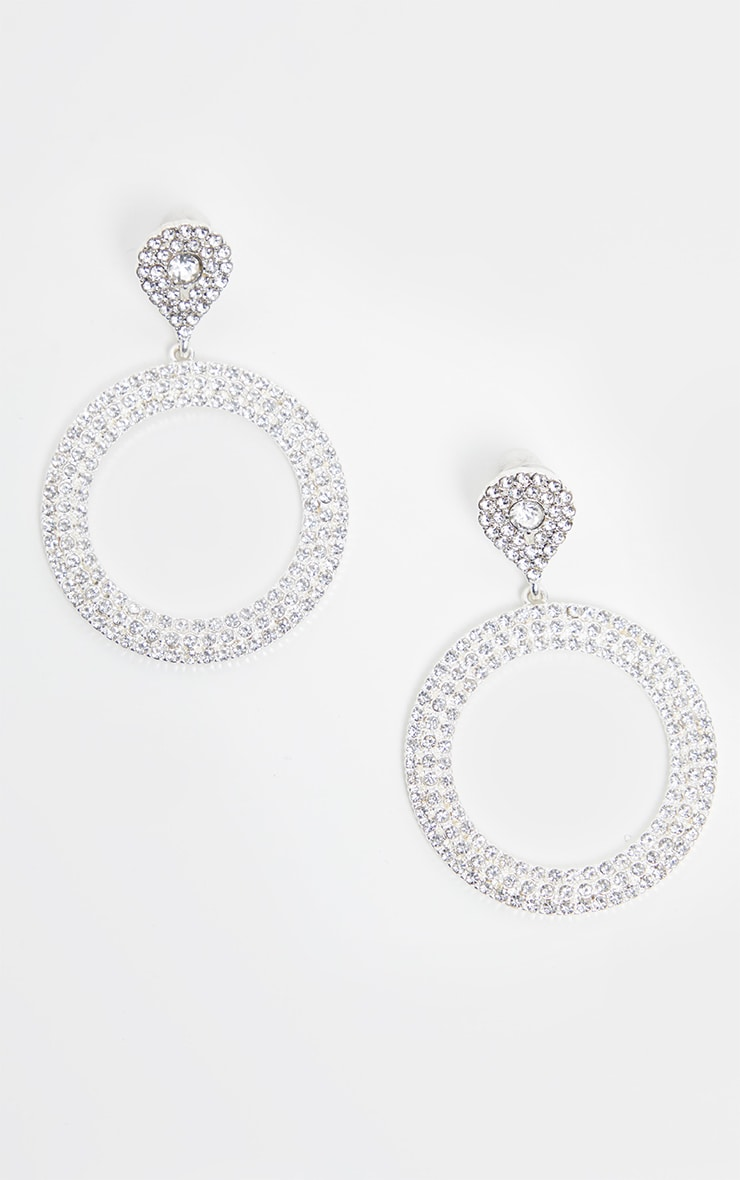 Crystal Diamante Teardrop And Circle Drop Earrings 2