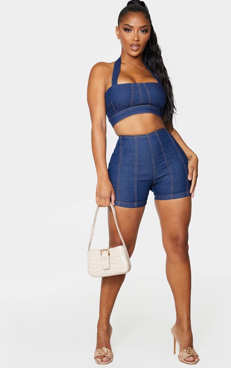 Shape Dark Wash Denim Contrast Stitch Fitted Shorts 1