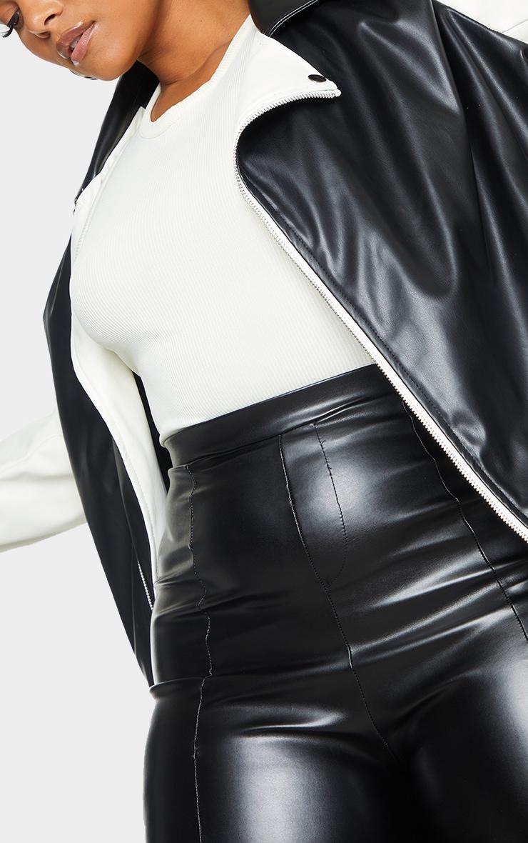 Plus Black Faux Leather Contrast Belted Biker Jacket 4