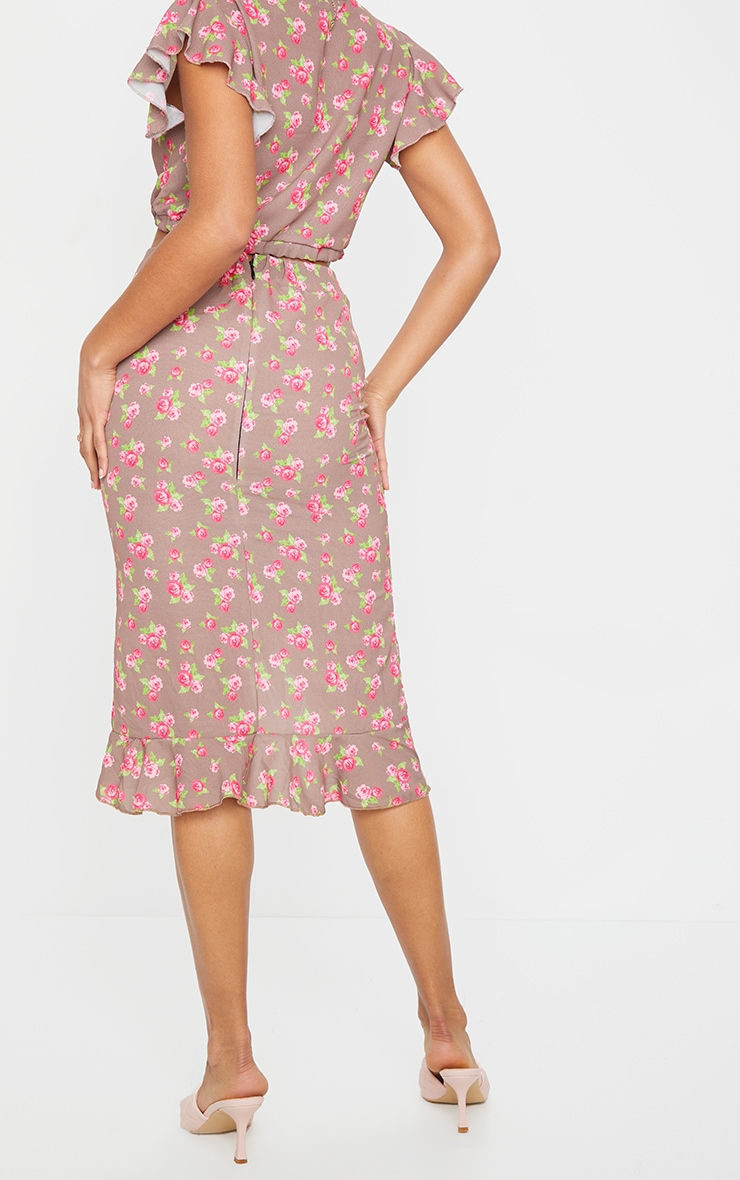 Brown Floral Printed Frill Wrap Over Midi Skirt 3