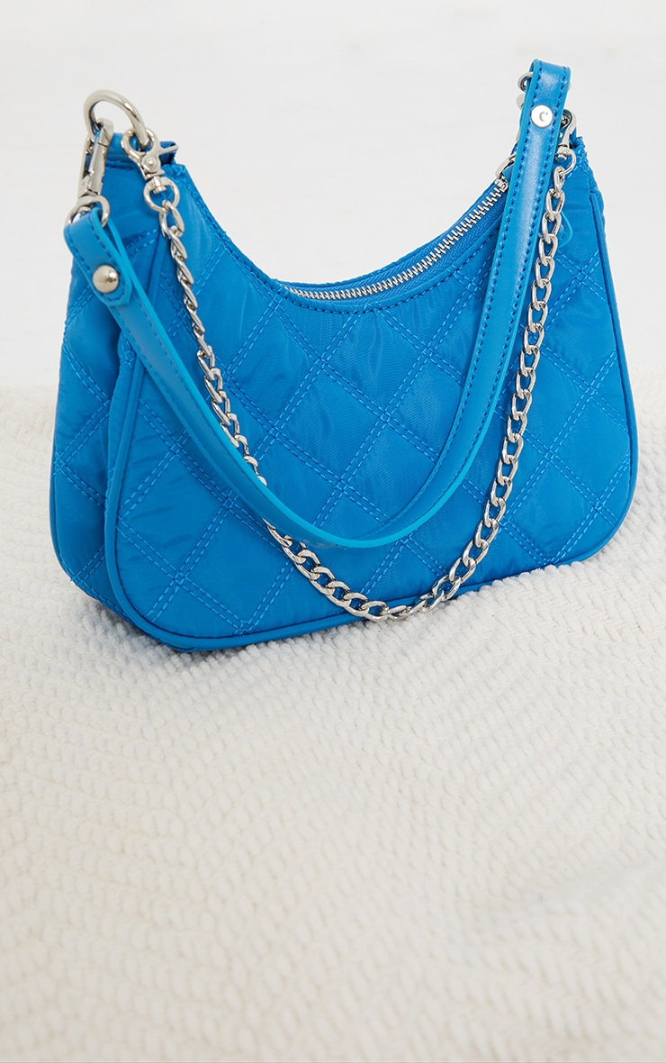 Electric Blue Quilted Silver Chain Detail Shoulder Bag 2