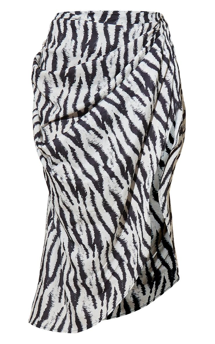 Black Zebra Print Ruched Side Midi Skirt 5