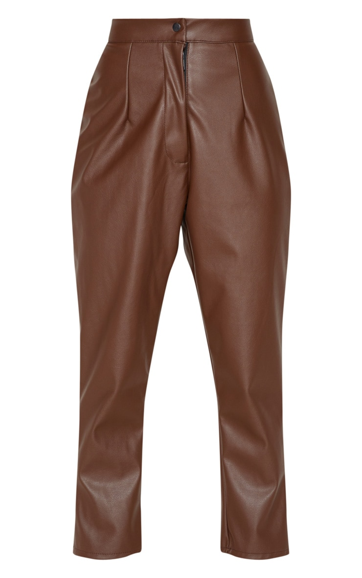 Petite Chocolate Faux Leather Slim Leg Trousers 3