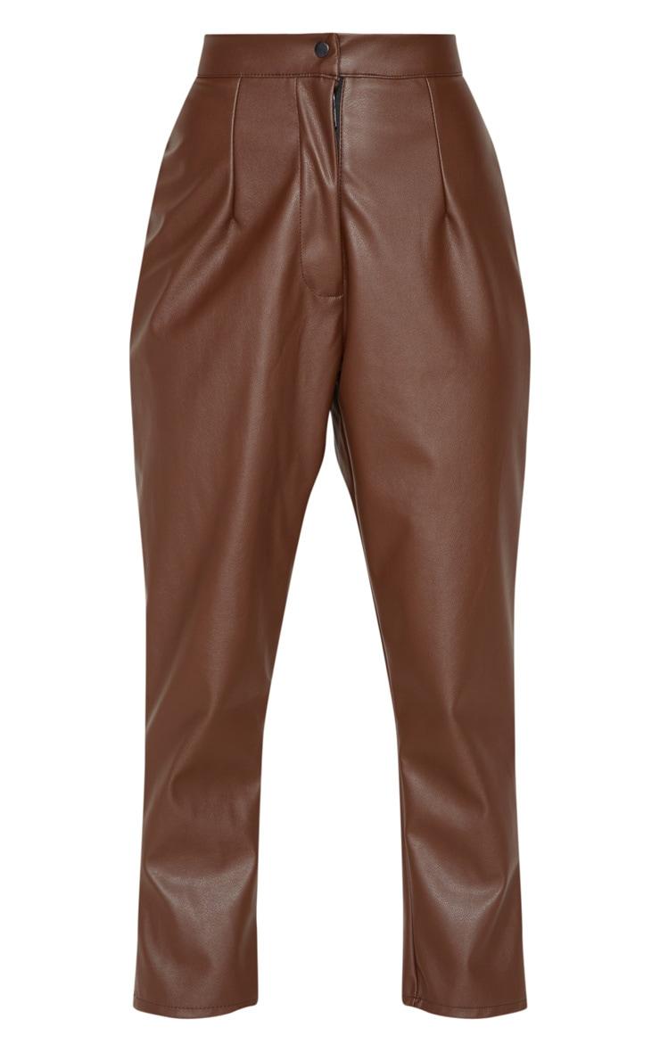 Petite Chocolate Faux Leather Slim Leg Pants 3