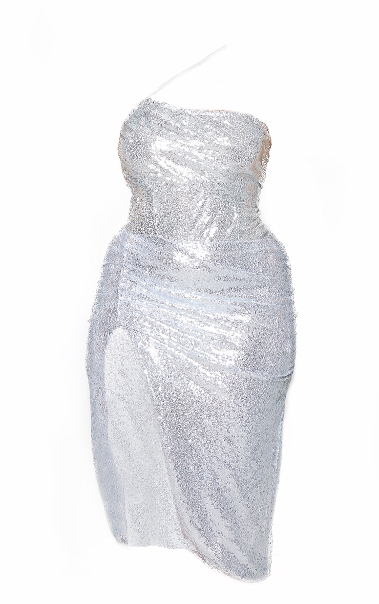 Plus Silver Sequin Strap Detail Ruched Side Midi Dress 6