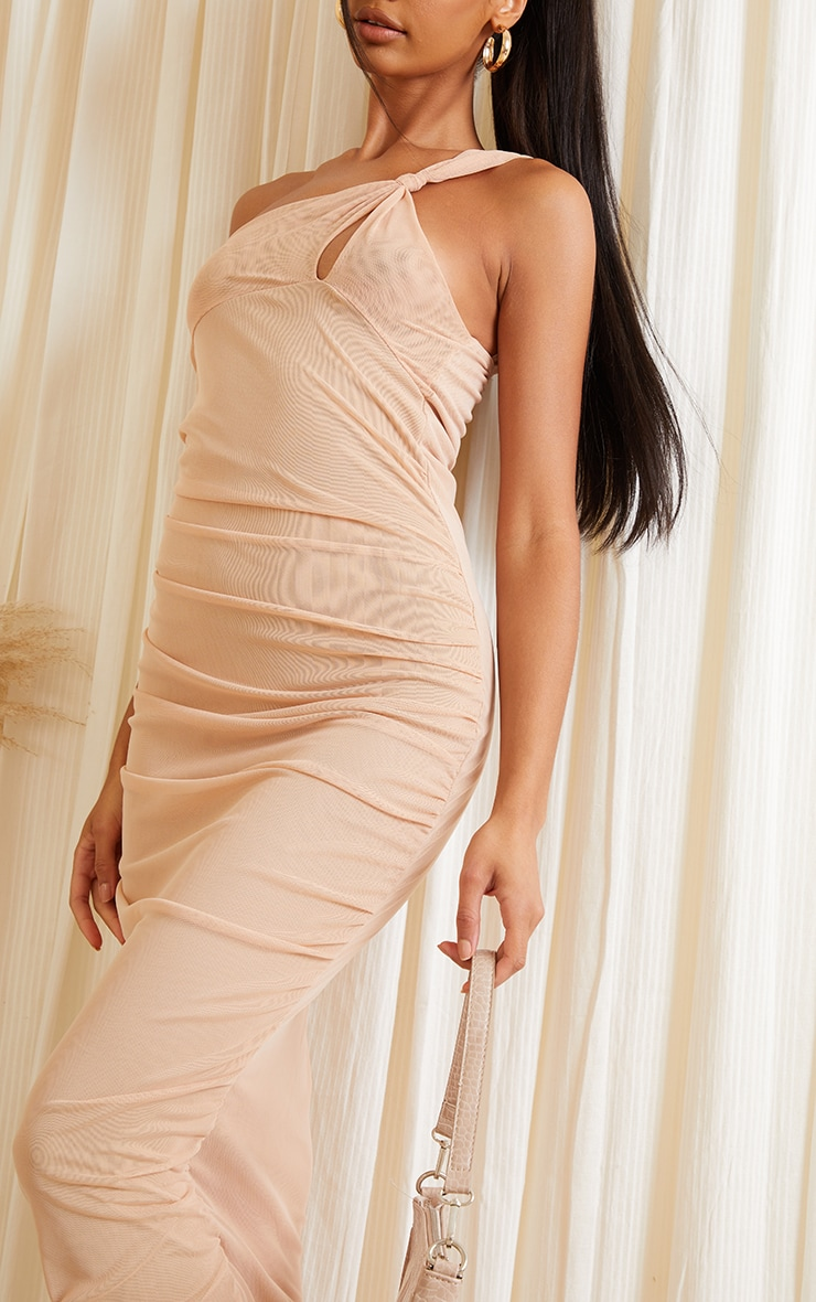 Stone Mesh One Shoulder Knot Detail Ruched Midaxi Dress 4