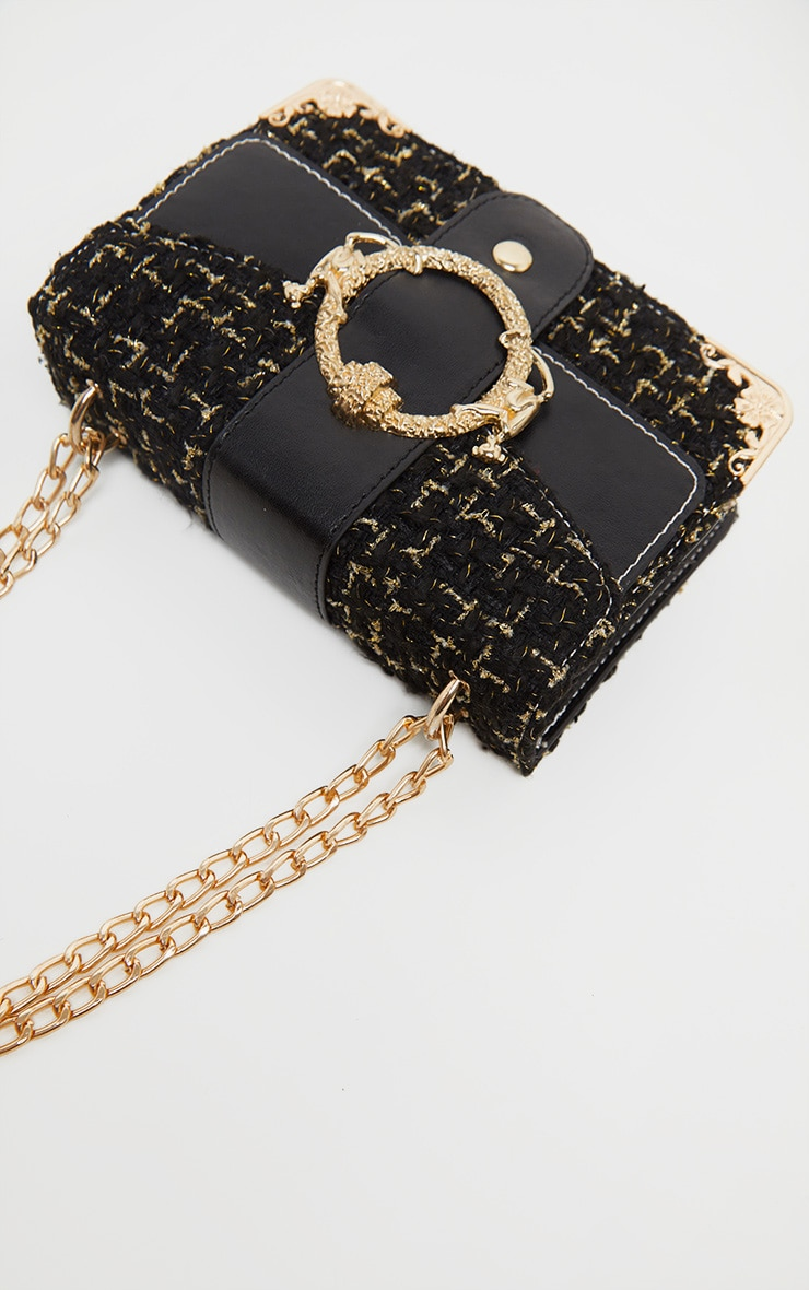Black Tweed Gold Trim Chain Cross Body Bag 2