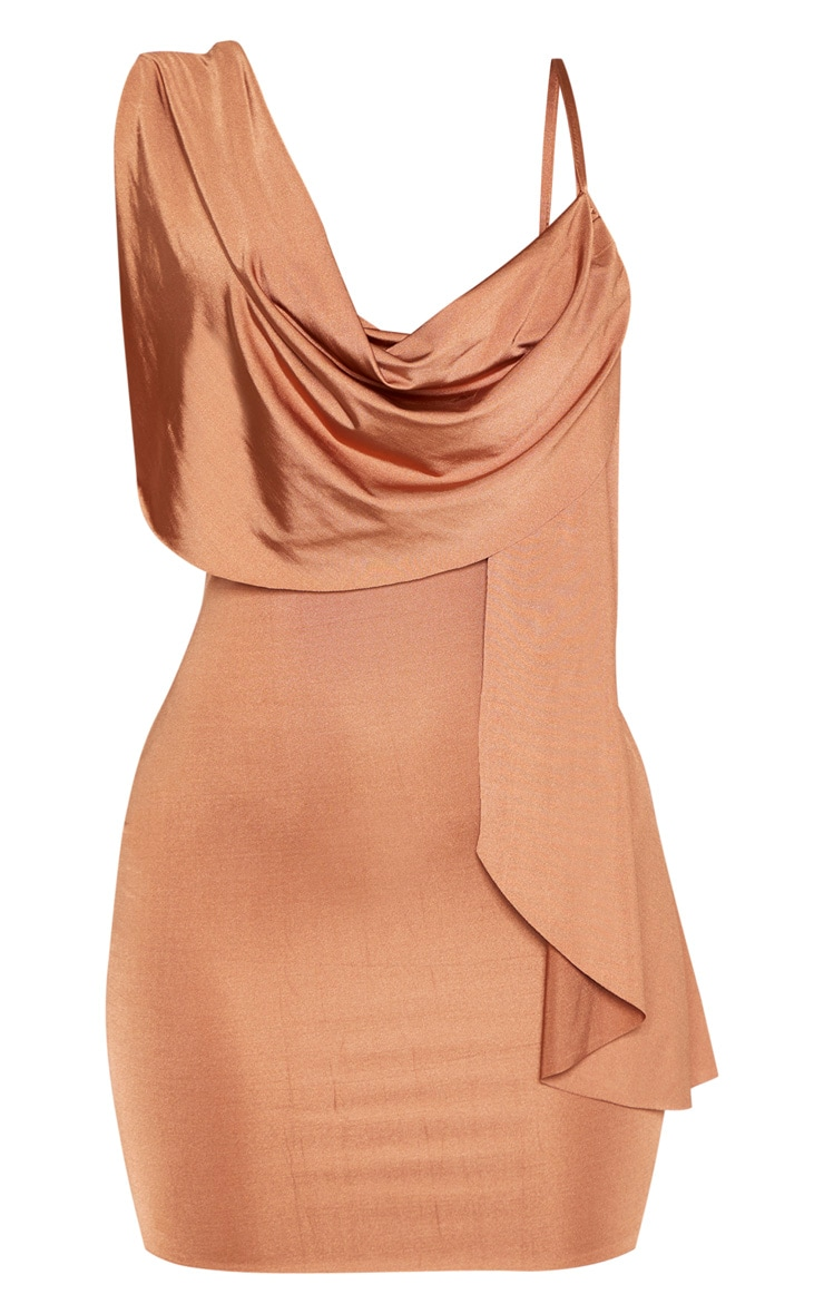 Mocha Metallic Slinky Drape Front Bodycon Dress 3