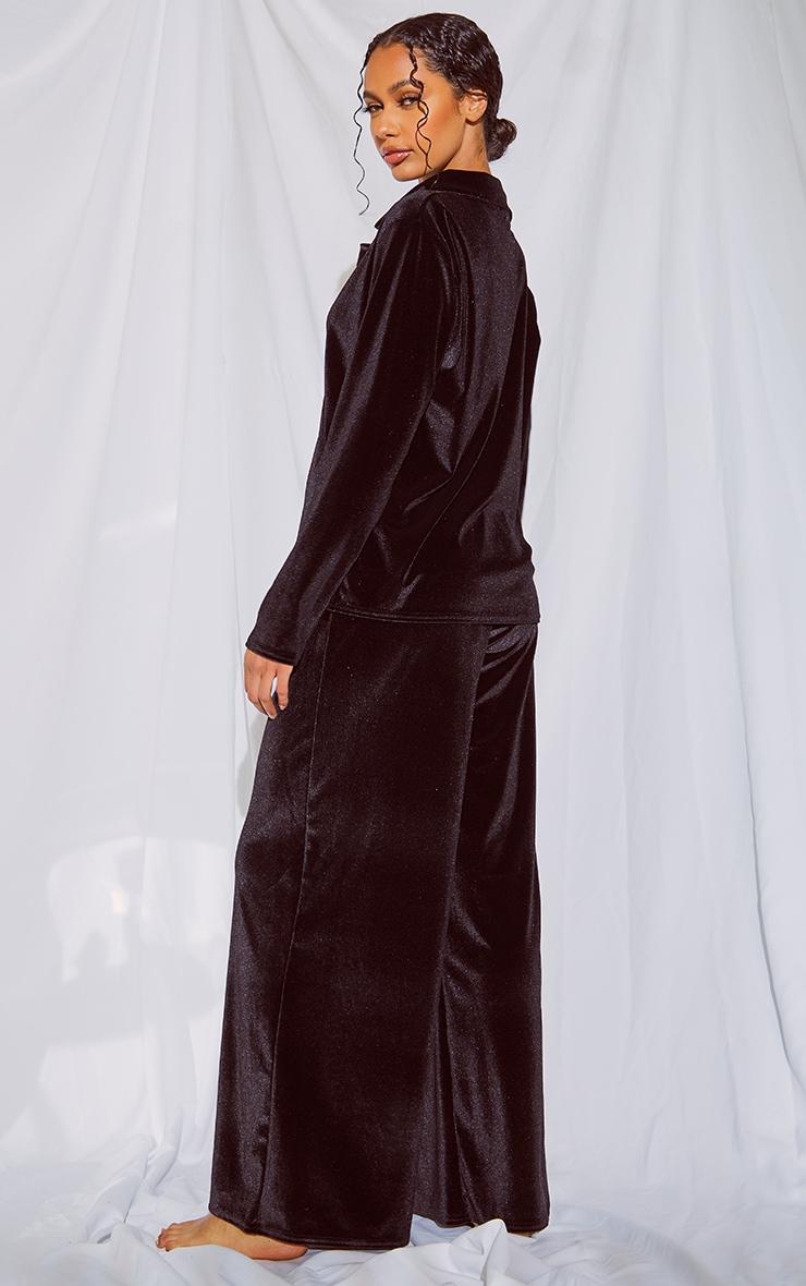 Black Velour Button Up Long PJ Set 2