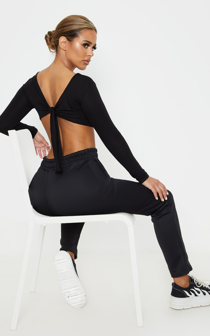 Petite Black Tie Back Long Sleeve Jersey Crop Top  1