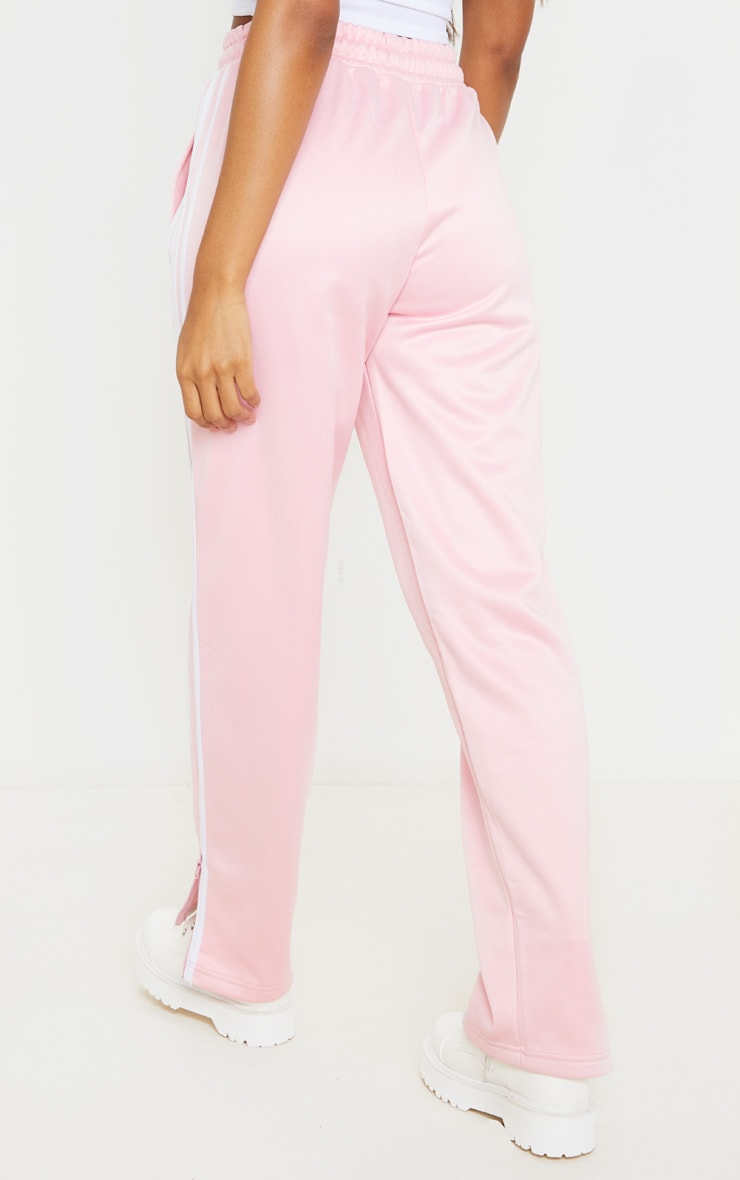Baby Pink Zip Side Stripe Wide Leg Joggers 3