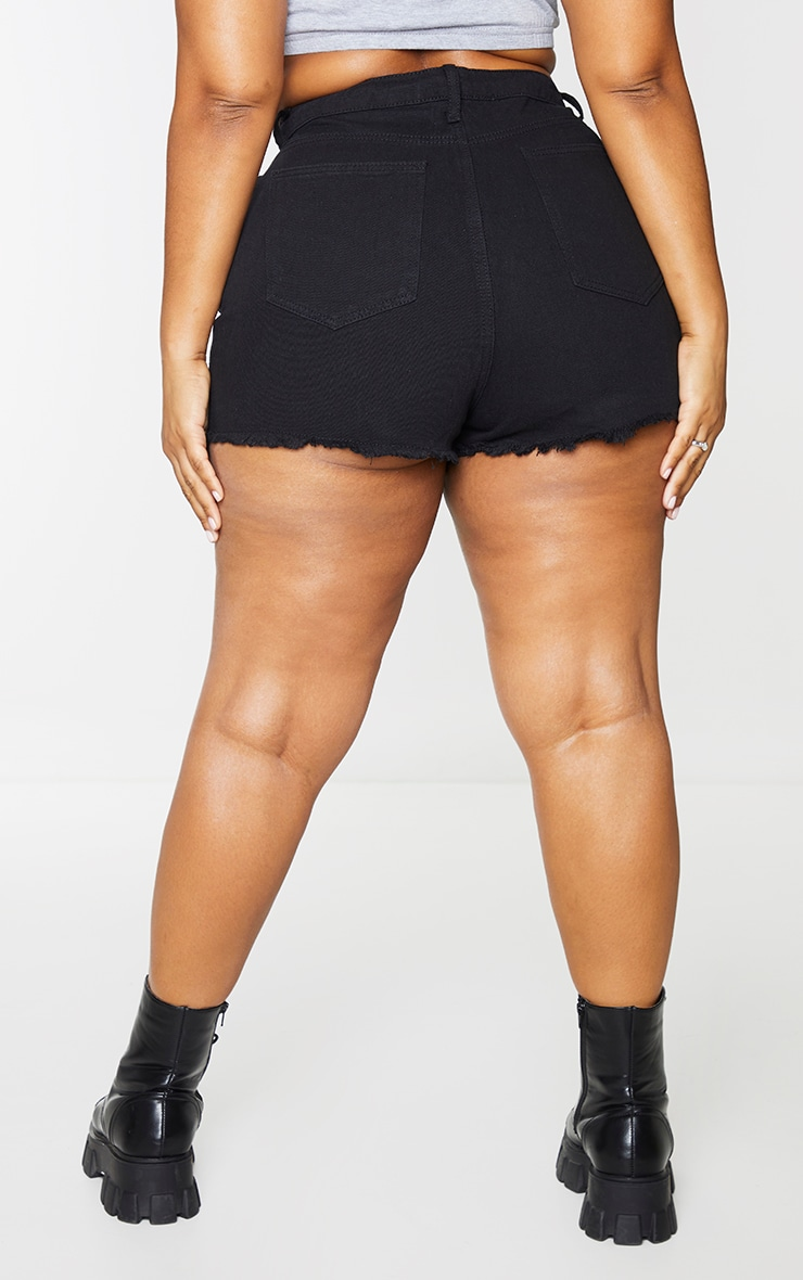 Plus Shelby High Waisted Black Denim Short 3