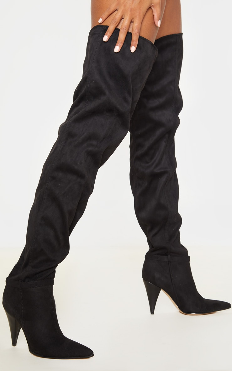 Black Cone Heel Slouch Thigh Boot 1