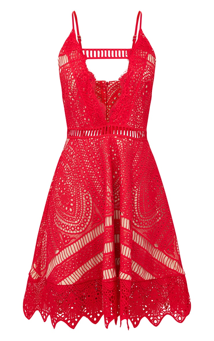 Red Crochet Lace Plunge Strappy Skater Dress 3