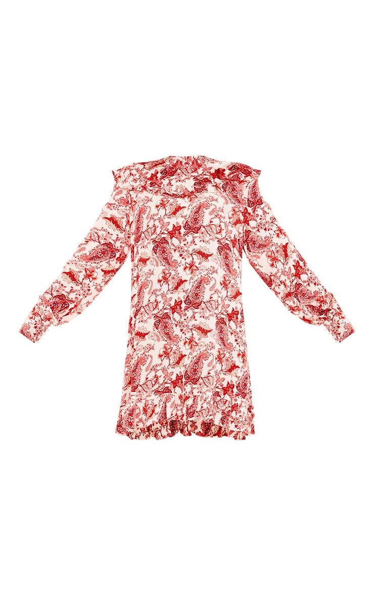Carolinar Printed Cheese Cloth Frill Shift Dress Red 3
