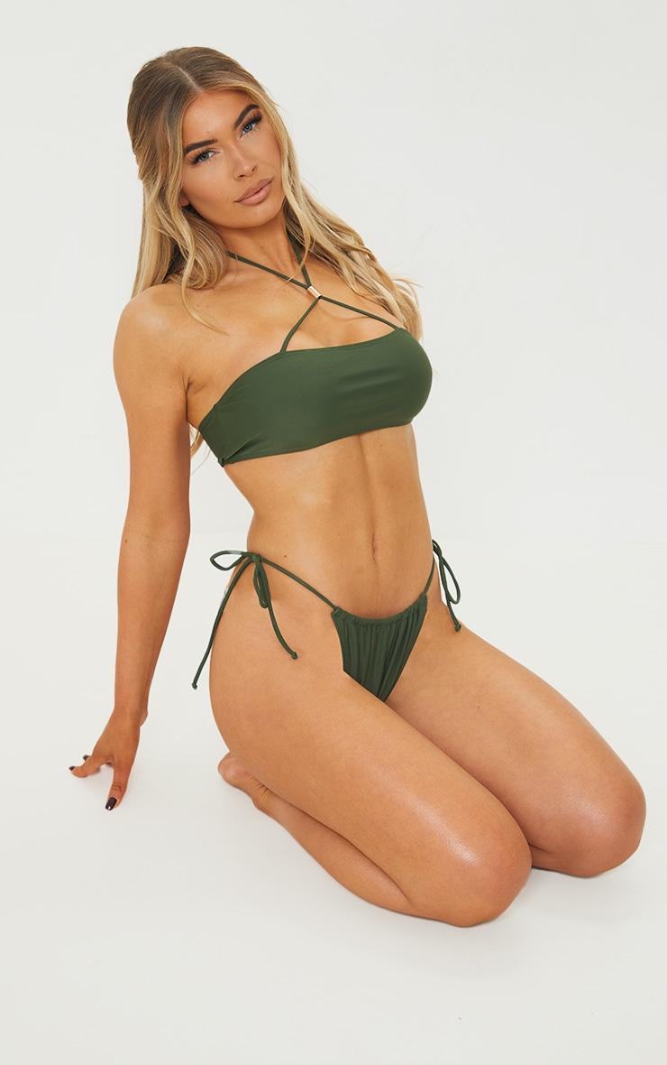 Khaki Cross Front Bandeau Bikini Top 3