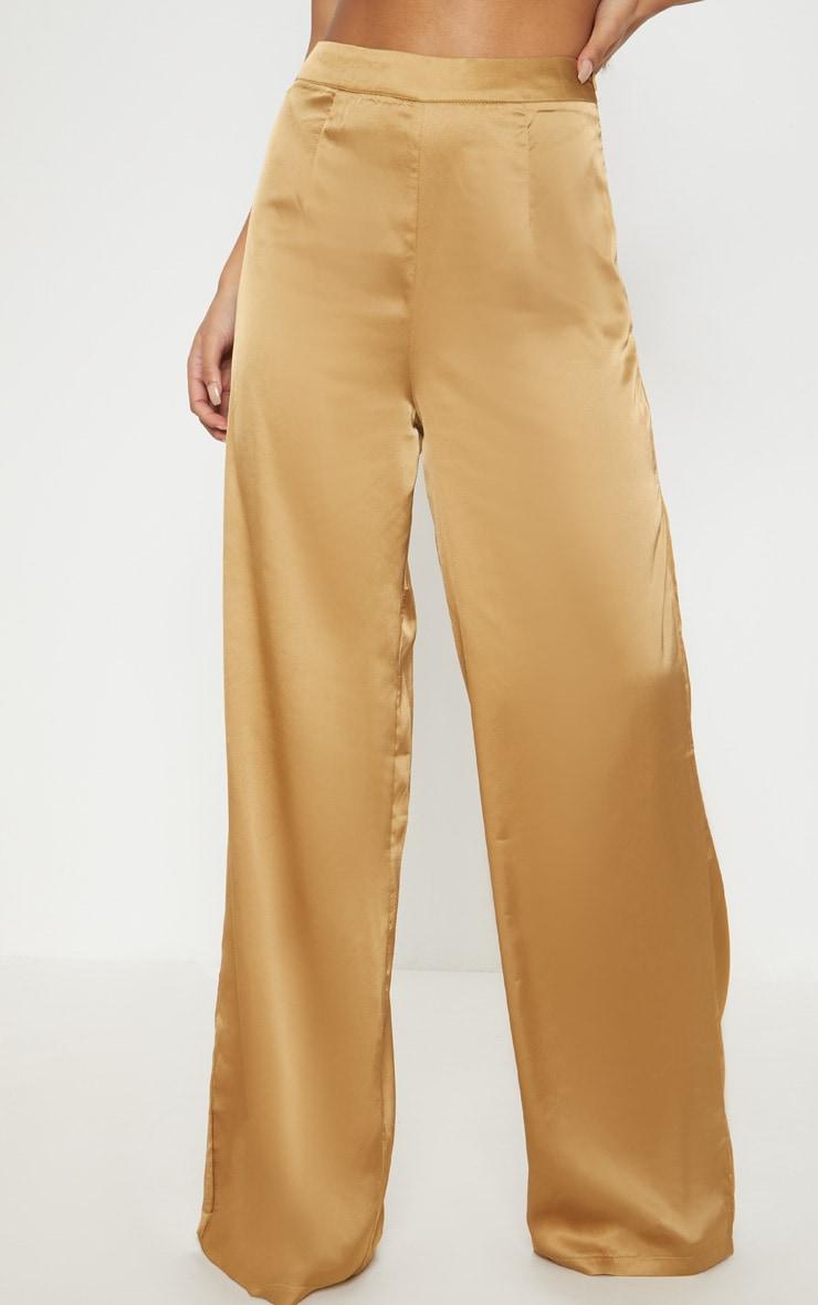 Gold Satin Wide Leg Trouser  2