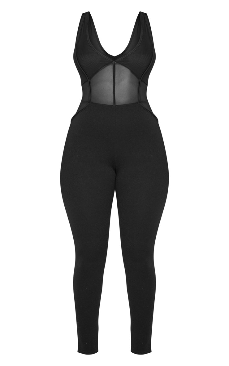 Shape Black Mesh Panel Jumpsuit 1