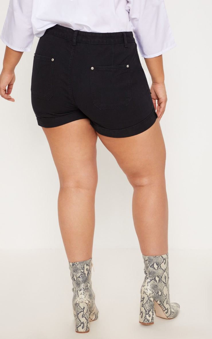 Plus Black Turn Up Hem Denim Shorts 4