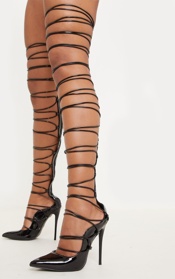 Black Thigh High Court Shoe
