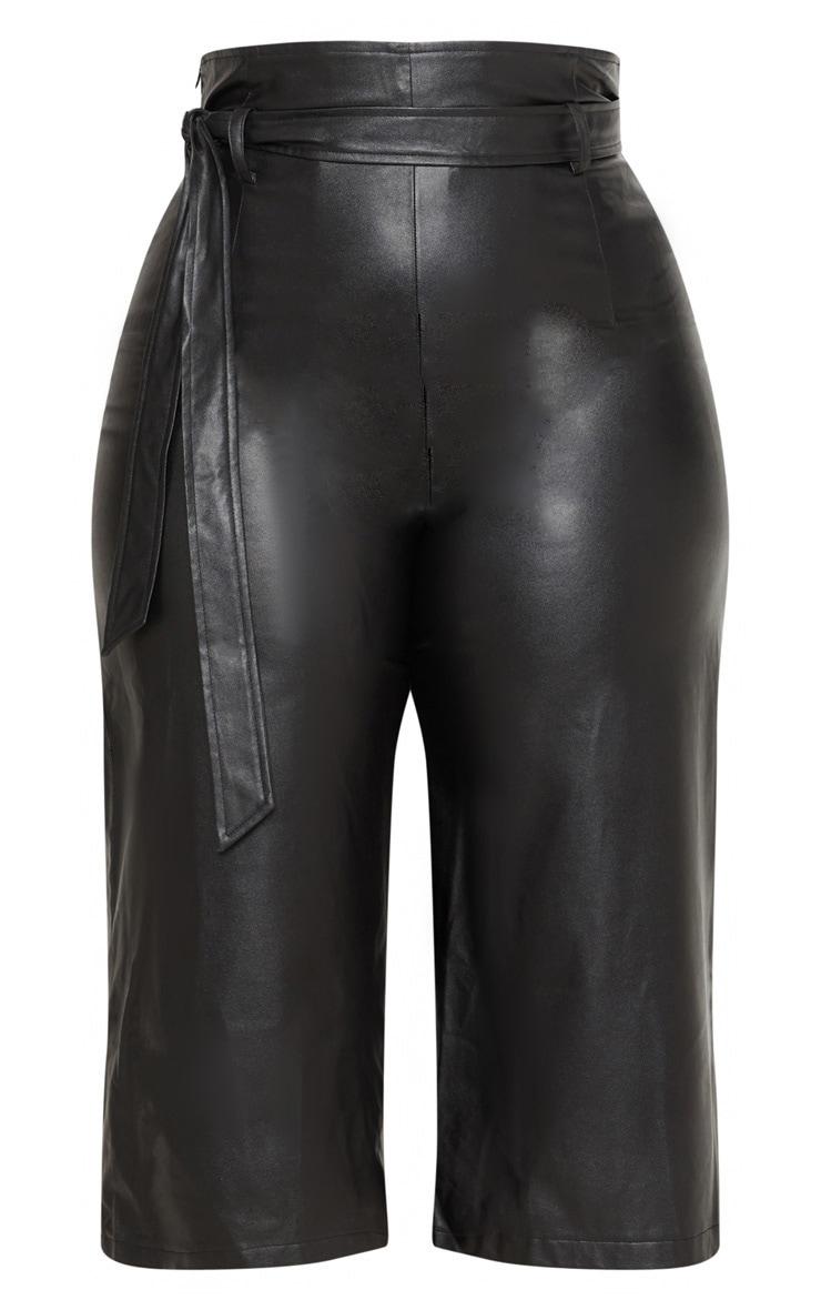 Plus Black Faux Leather Belt Detail Culotte  3