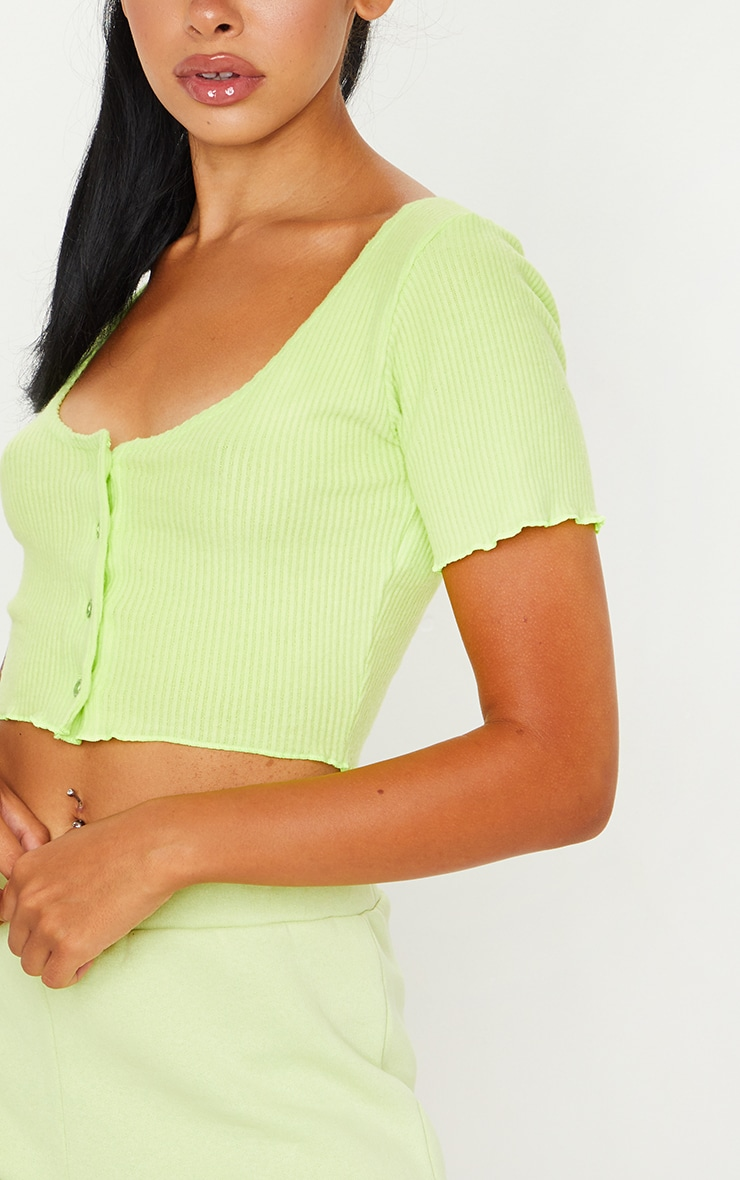 Lime Brushed Rib Button Front Short Sleeve Crop Top 4
