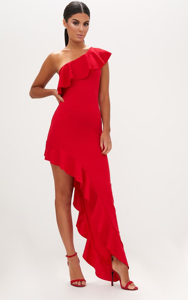 Red One Shoulder Ruffle Detail Asymmetric Maxi Dress 4