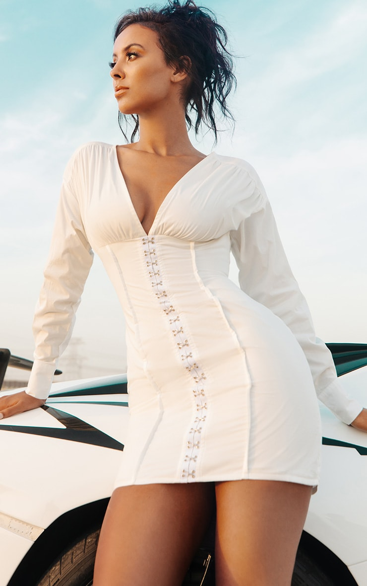 White Corset Detail Bodycon Dress 1