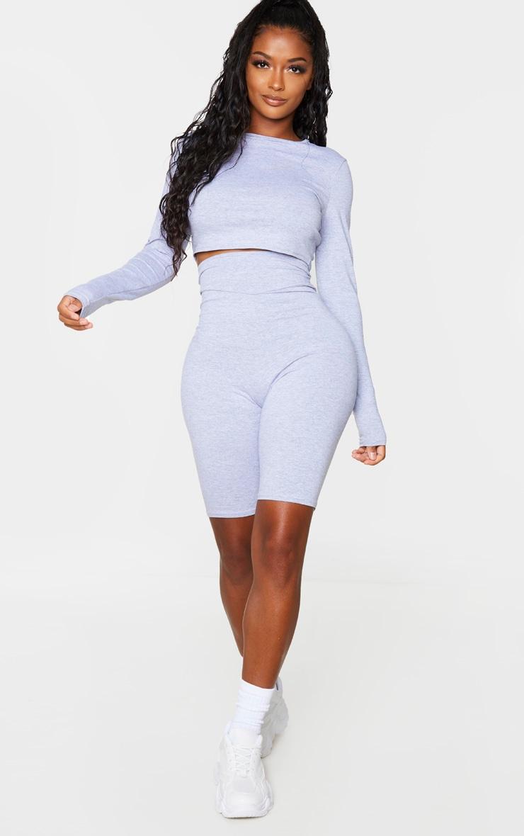 Shape Grey Cotton Long Sleeve Crop Top 1