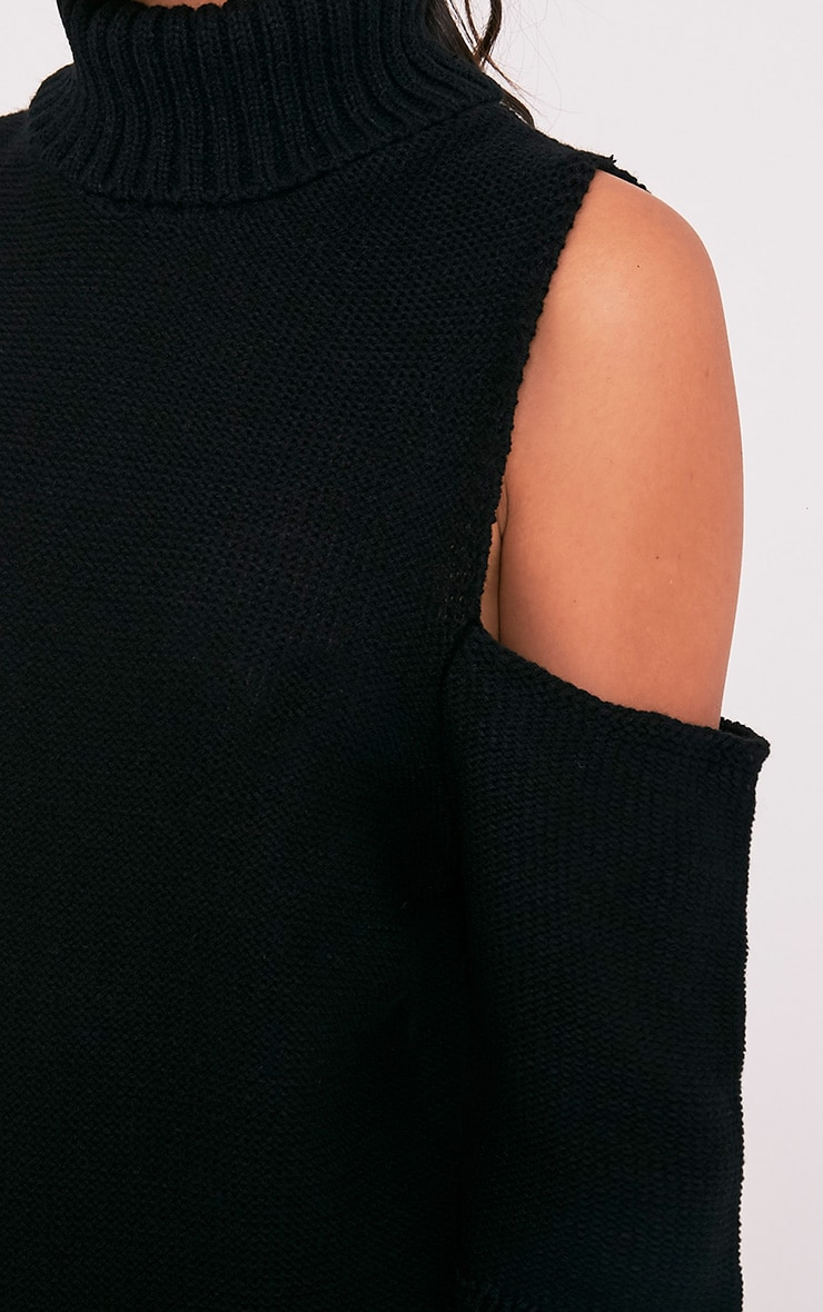 Hunni Black Cold Shoulder Roll Neck Jumper 6