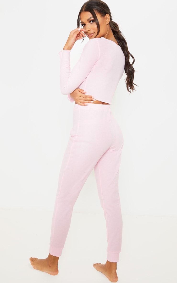 Baby Pink Ribbed Frill Edge Long Sleeve Legging PJ Set 2