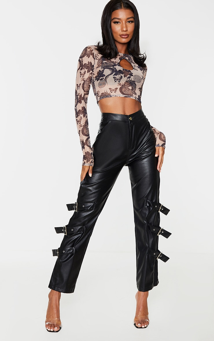 Nude Mesh Print Key Hole Long Sleeve Crop Top 3