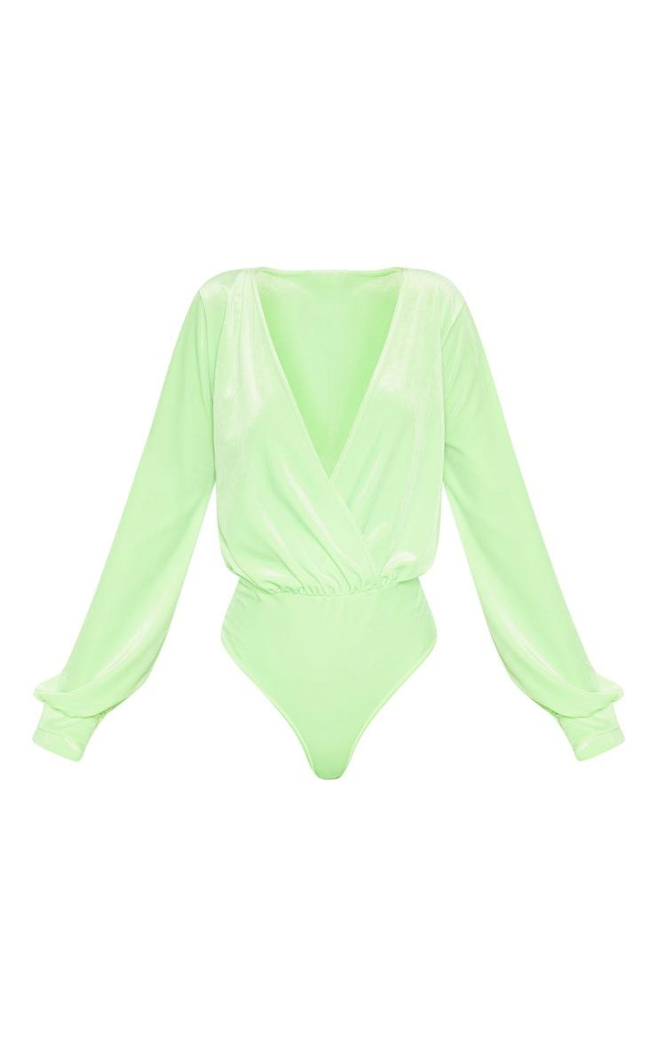 Neon Lime Velvet Plunge Bodysuit 3