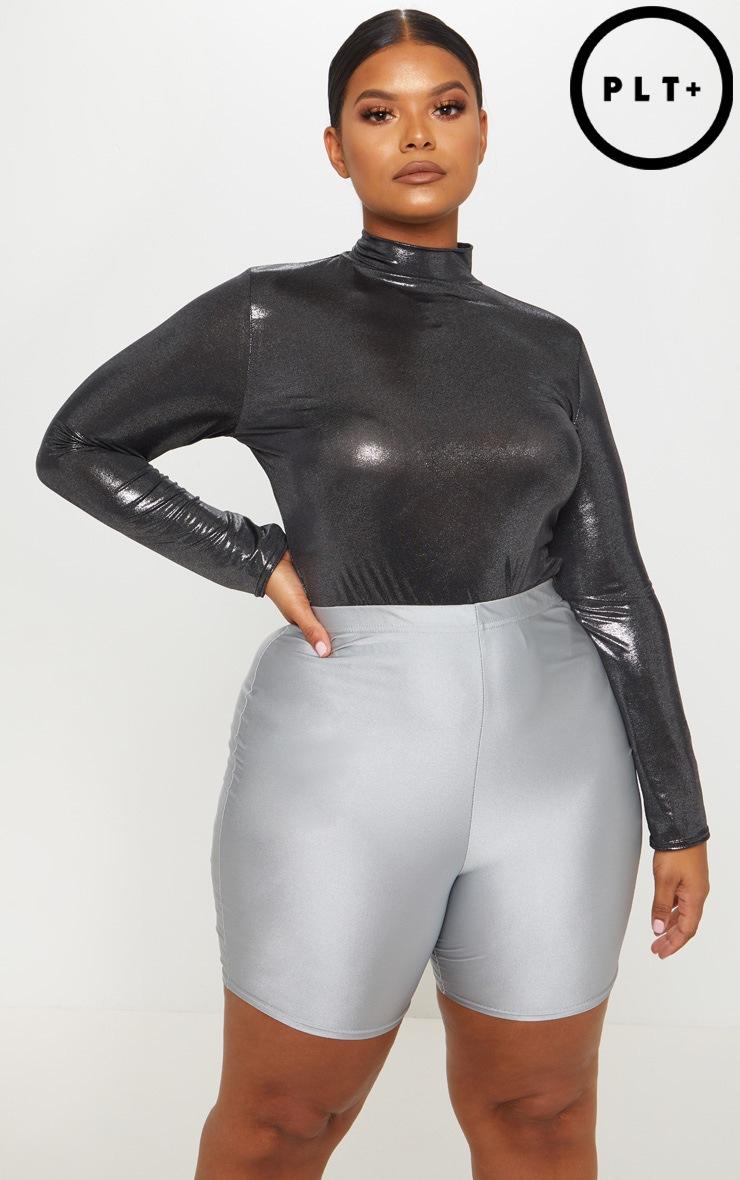 Plus Silver Metallic High Neck Bodysuit