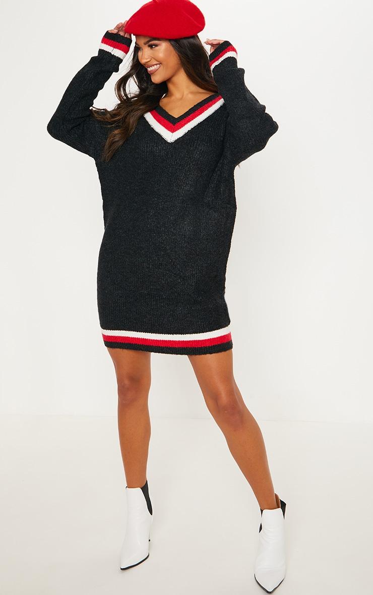 Black Contrast Stripe V Neck Jumper Dress