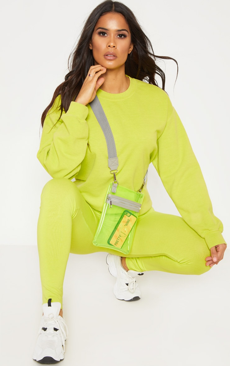 Lime Transparent Pouch Cross Body